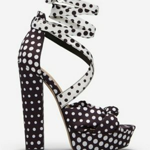 Polka dot black and white heeled sandals